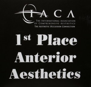 "Winner ""1st Place Anterior Aesthetics"" at the 2012 International Assocation of Comprehensive Aesthetics (IACA)"